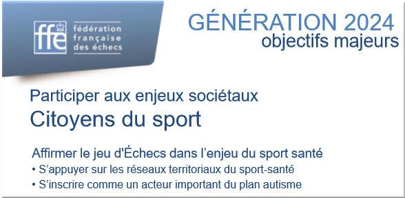 jeu d'échecs dans l'enjeu du sport santé, génération 2024, FFE
