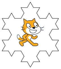 programming the second generation of Von Koch's curve with the orange cat sprite in Scratch