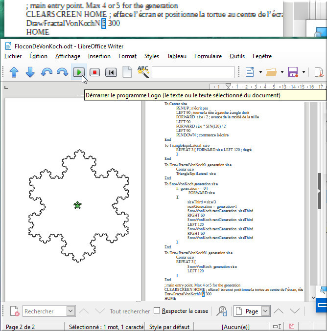 programming Von Koch's snowflake in Logo inside LibreOffice Writer