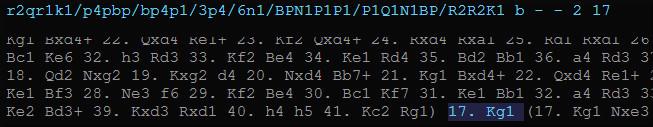 Postion courante FEN et partie PGN dans l'interface graphique Nibbler