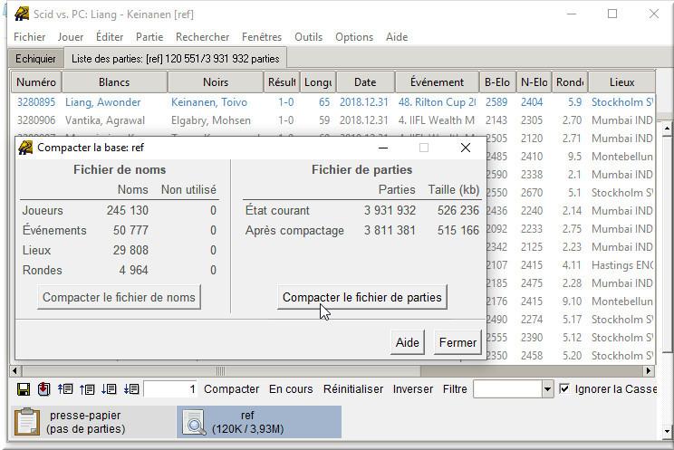 Compacter la base de référence pour finaliser la mise à jour de base Scid vs. PC