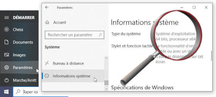 """Windows 10 """"Paramètres"""" > """"Système"""" > """"Informations système"""" > """"Type du système"""""""