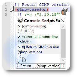 Gimp Script-Fu TinyScheme commentaire multi-ligne